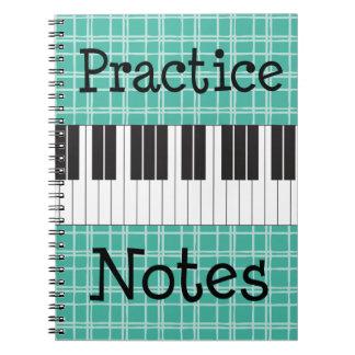 Notas de la práctica de música del piano libros de apuntes