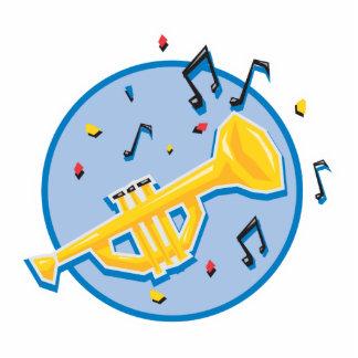 notas de la trompeta y de la música adorno fotoescultura