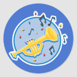 notas de la trompeta y de la música pegatinas redondas