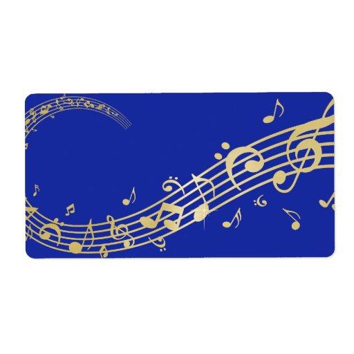 Notas de marcado en caliente de la música del oro  etiquetas de envío