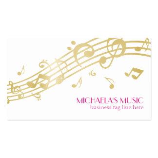 Notas de marcado en caliente de la música del oro tarjetas de visita