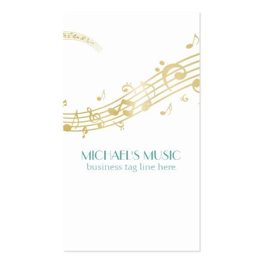 Notas de marcado en caliente de la música del oro  plantilla de tarjeta de negocio