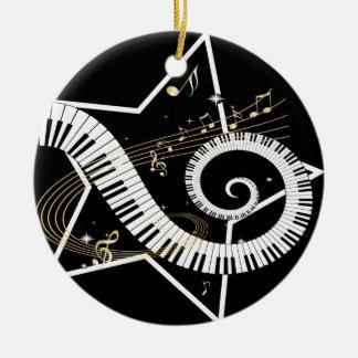 Notas de oro de la estrella musical adorno navideño redondo de cerámica