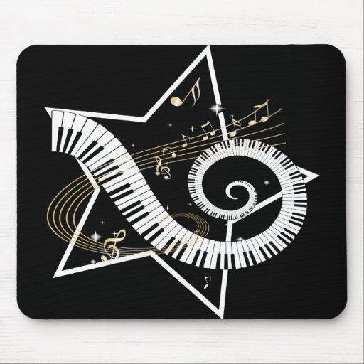 Notas de oro de la estrella musical alfombrilla de raton