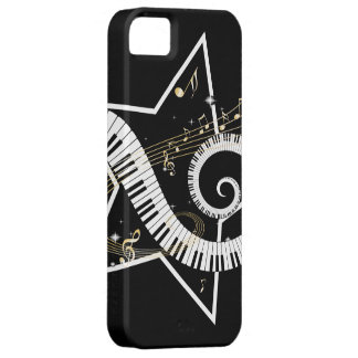 Notas de oro de la estrella musical iPhone 5 Case-Mate fundas