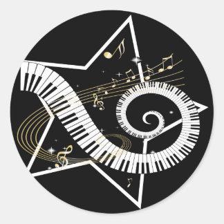 Notas de oro de la estrella musical pegatina redonda