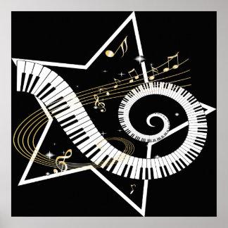 Notas de oro de la estrella musical póster