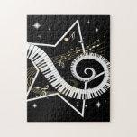 Notas de oro de la estrella musical puzzles con fotos