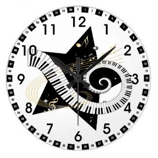 Notas de oro de la estrella musical reloj redondo grande
