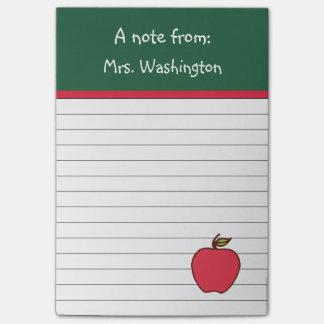 Notas de post-it de Apple del profesor verde Post-it® Notas