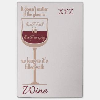 Notas de post-it de encargo de la copa de vino roj nota post-it