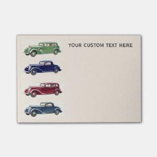 Notas de post-it de encargo de los coches del