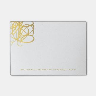 Notas de post-it elegantes del efecto del oro notas post-it