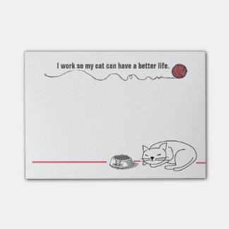 Notas de post-it listas del humor del gato