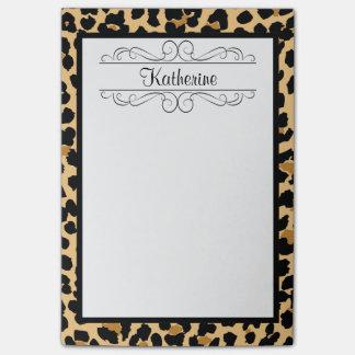 Notas de post-it personalizadas estampado leopardo