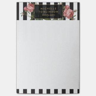Notas de post-it personalizadas rayadas florales