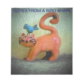 Notas de un gatito del cerebro del pájaro blocs