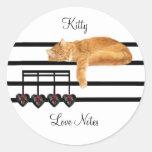 Notas del amor del gato pegatinas redondas