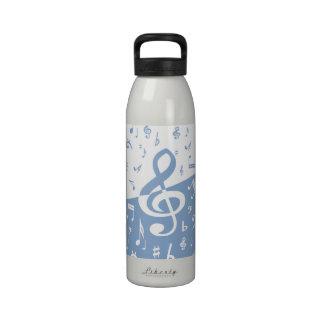 Notas del Clef agudo y de la música en azul y Botellas De Agua Reutilizables