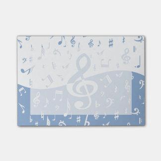 Notas del Clef agudo y de la música en azul y Notas Post-it