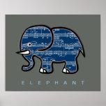 notas del elefante y de la música póster