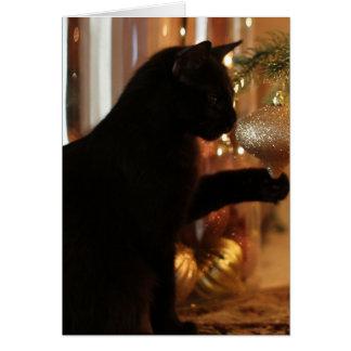 Notas del gatito del navidad, gato negro/ornamento tarjeta de felicitación