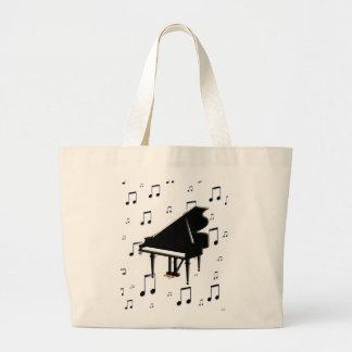 Notas del piano de cola y de la música bolsa tela grande