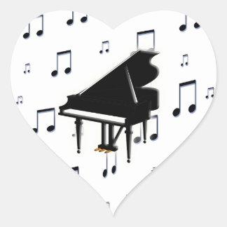 Notas del piano de cola y de la música pegatina en forma de corazón
