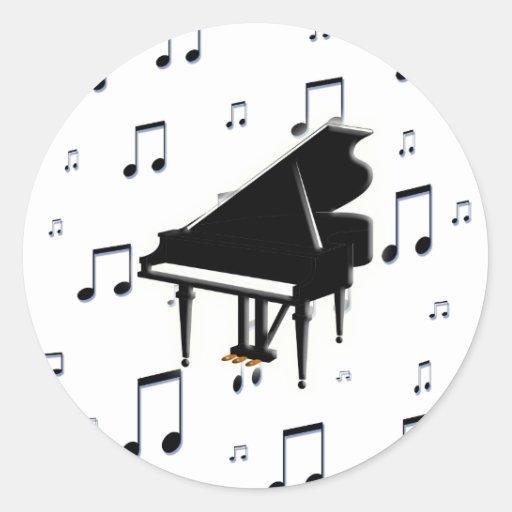 Notas del piano de cola y de la música pegatina redonda