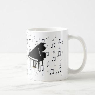 Notas del piano de cola y de la música tazas de café