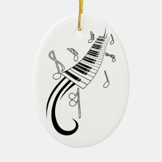 Notas del piano y de la música adorno navideño ovalado de cerámica