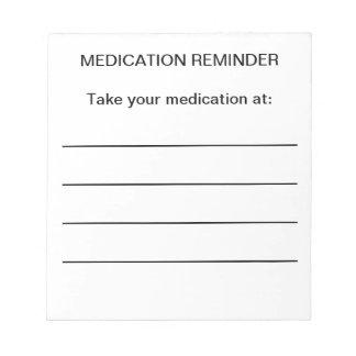 Notas del recordatorio de la medicación libreta para notas