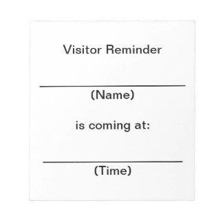 Notas del recordatorio del visitante libreta para notas