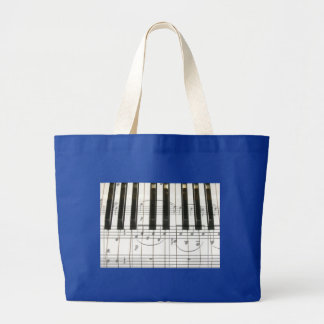 Notas del teclado y de la música de piano bolsa tela grande