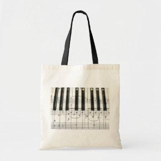 Notas del teclado y de la música de piano bolsa tela barata