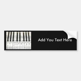 Notas del teclado y de la música de piano pegatina de parachoque