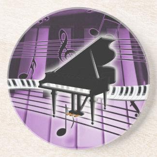 Notas del teclado y de la música de piano de cola posavasos personalizados