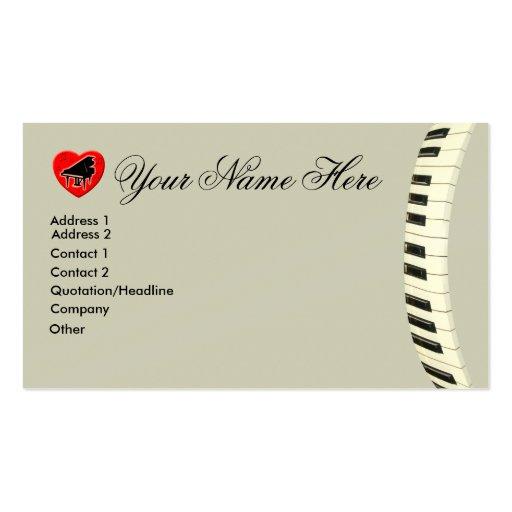 Notas del teclado y de la música de piano de cola  tarjetas de visita