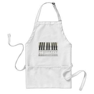Notas del teclado y de la música de piano delantal