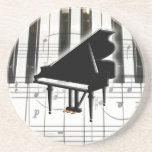 Notas del teclado y de la música de piano posavasos para bebidas