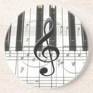 Notas del teclado y de la música de piano posavasos manualidades