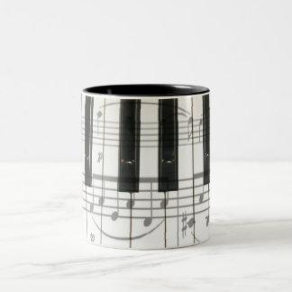 Notas del teclado y de la música de piano taza dos tonos
