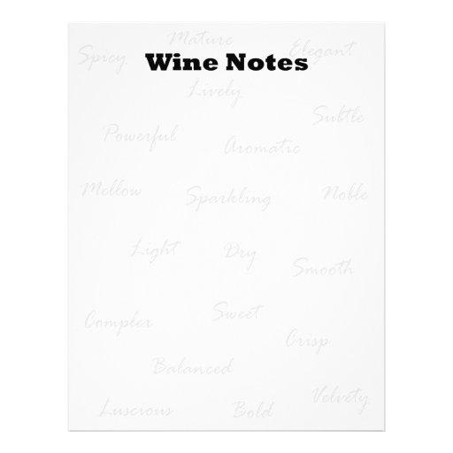 Notas del vino plantillas de membrete