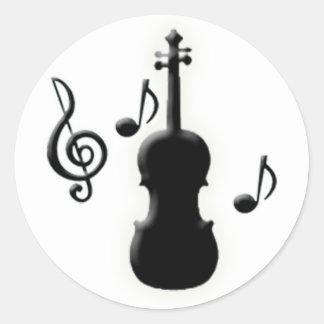 Notas del violín y de la música pegatinas redondas