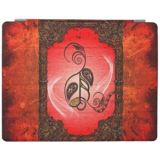 Notas dominantes con los elementos florales cubierta de iPad