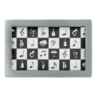 Notas elegantes e instrumentos de la música hebilla cinturón rectangular