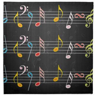 Notas fabulosas de la música sobre negro servilletas imprimidas