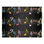 Notas fabulosas de la música sobre negro tarjeta de felicitación grande