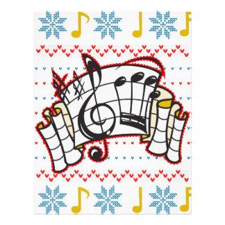 Notas feas de la música del suéter del navidad membrete personalizado