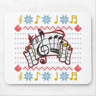 Notas feas de la música del suéter del navidad mousepad